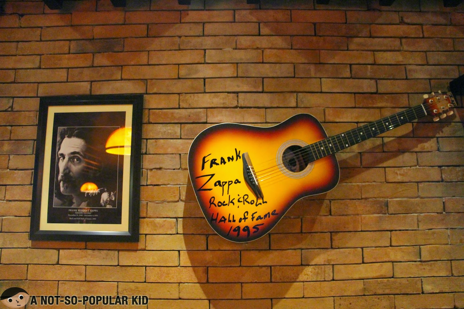 Frank Zappa Signed Guitar in Franks Craft Beers