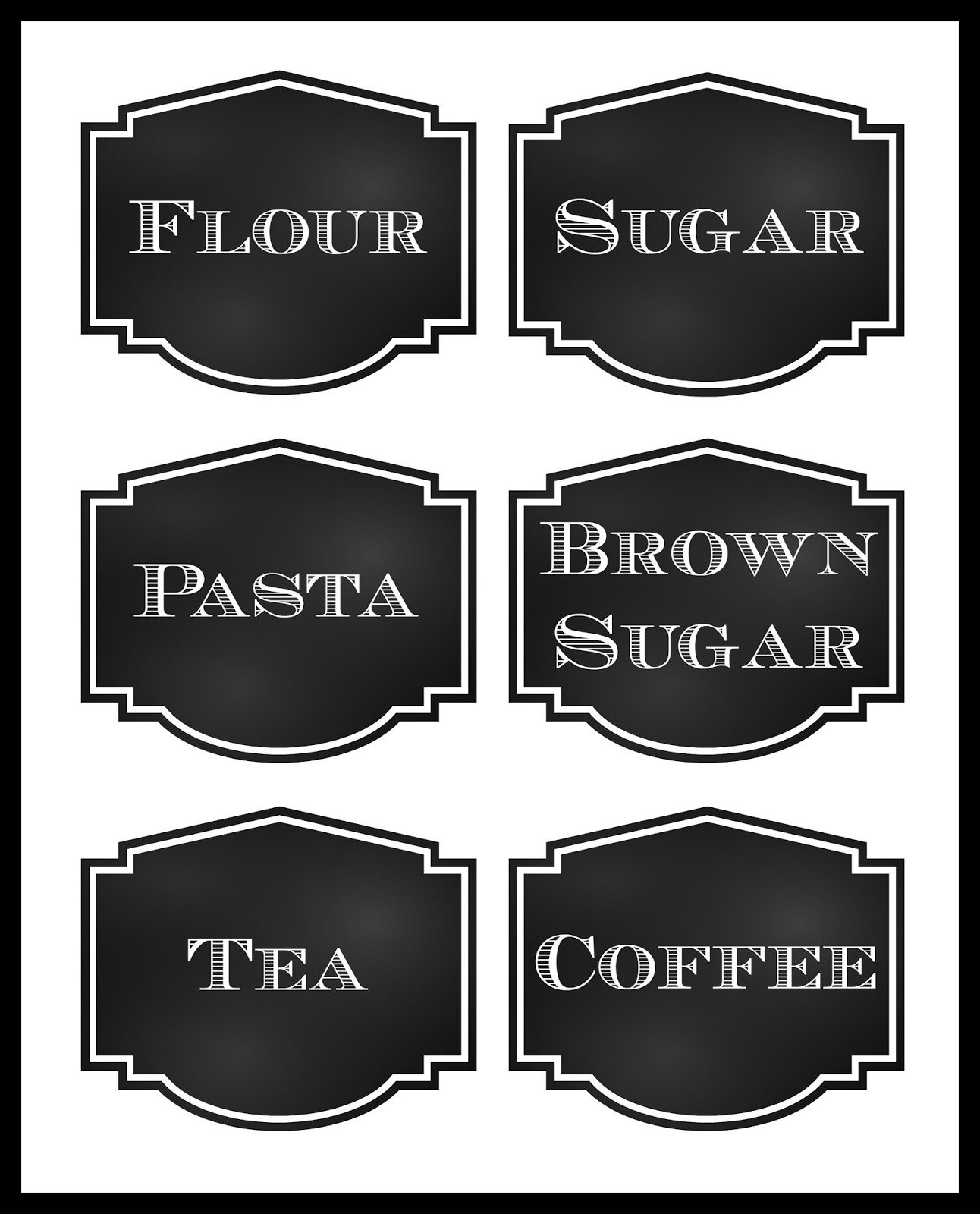 Reorganized simplicity free printable chalkboard style pantry labels for Chalkboard labels printable