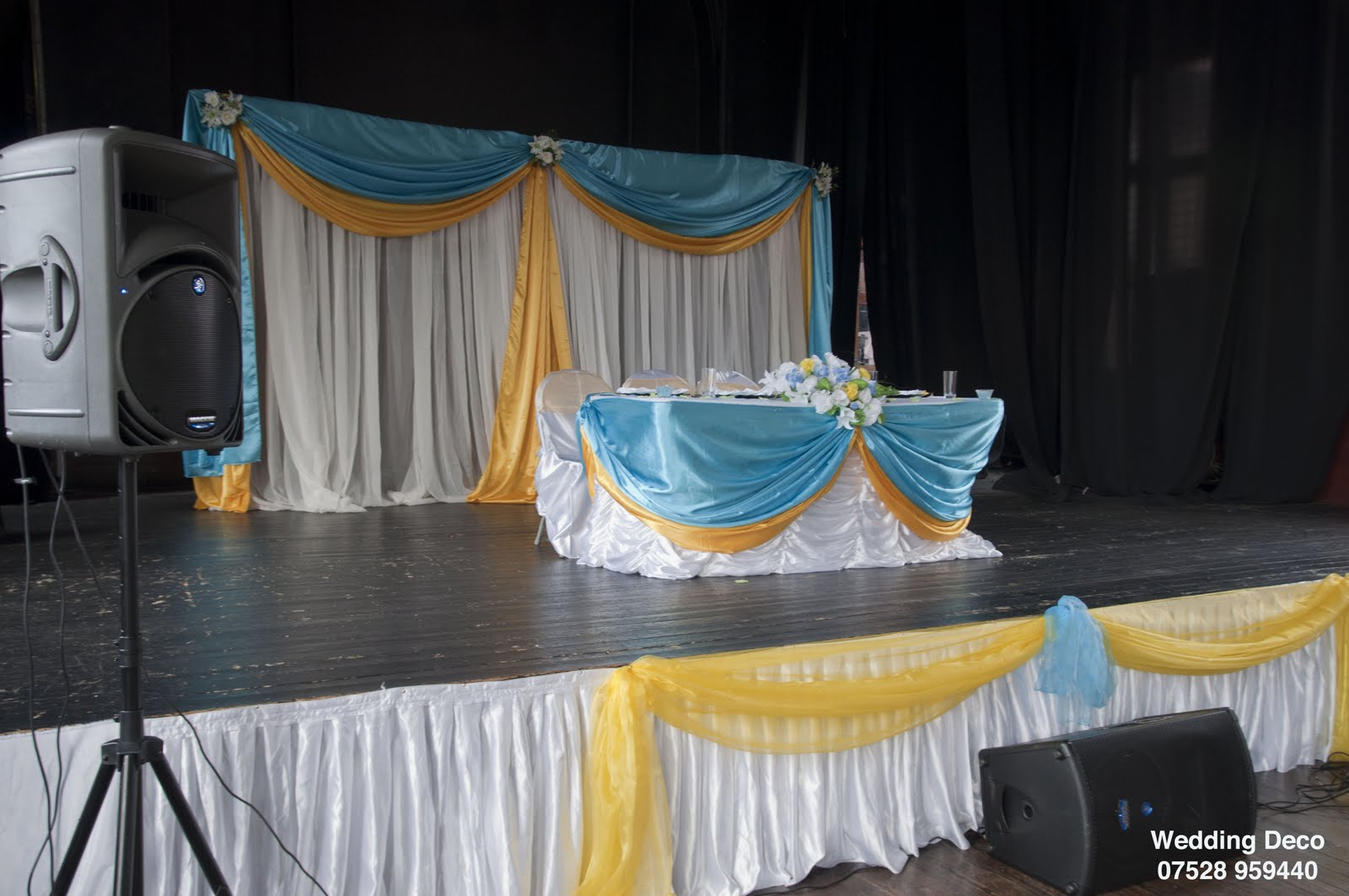 doris decoration and cakes  turquoise blue and yellow engagement