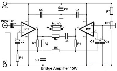 Build a 15W Bridge Audio Amplifier Circuit based TDA2002