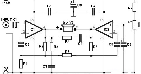 15w Bridge Audio Amplifier Circuit