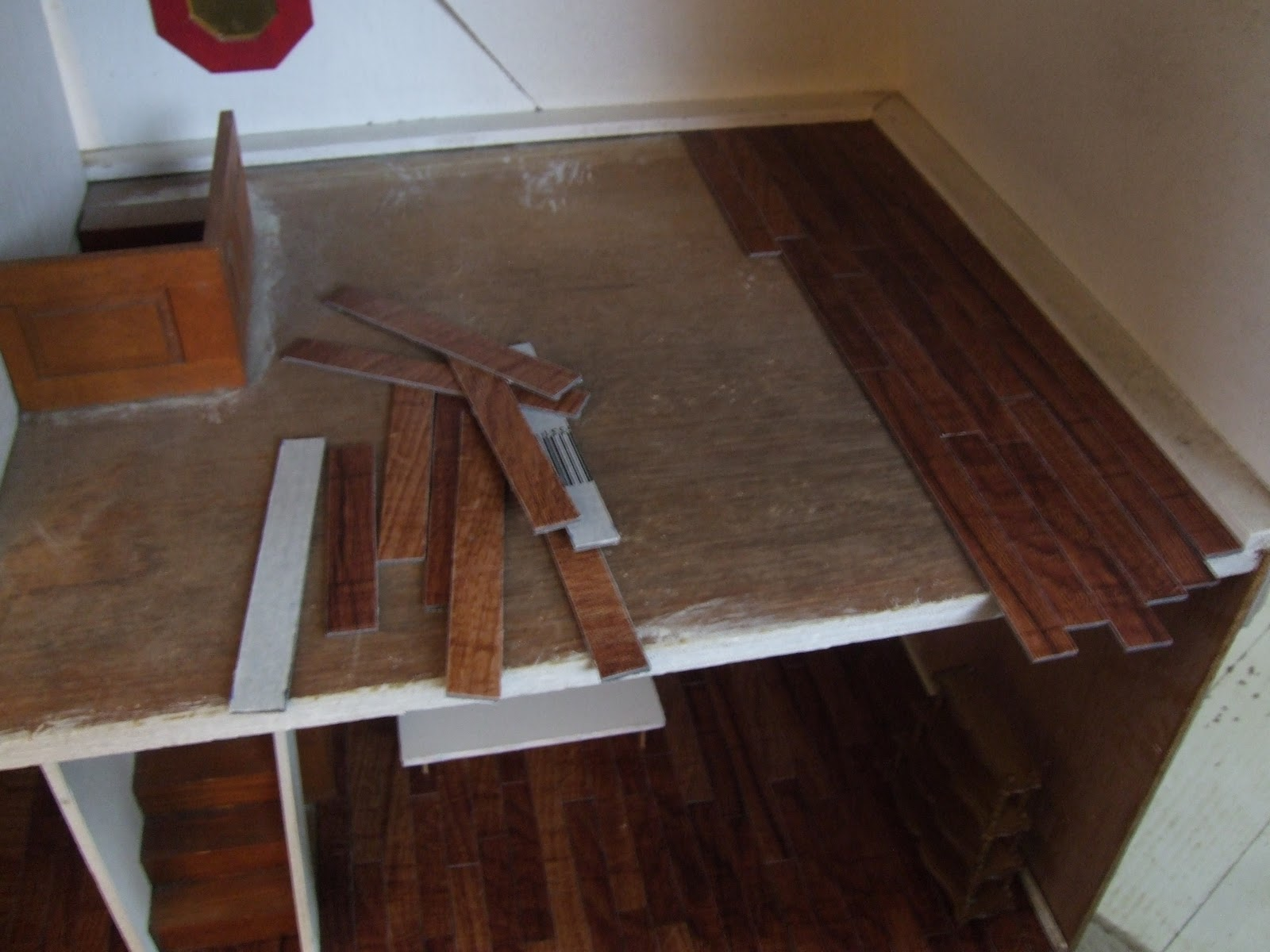 Diy hardwood dollhouse flooring from vinyl tiles little for Flooring floor