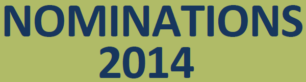 "Blue text ""Nominations 2014"" on green background"