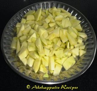 cut the mango into pieces