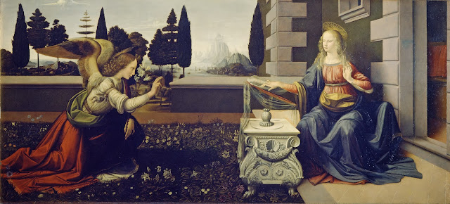 "Painting ""Annunciation"" by Leonardo da Vinci, 1472-1475"