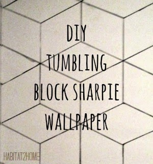 DIY Tumbling Block Sharpie Wallpaper