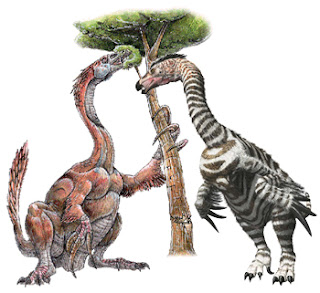 Therizinosaurus dinosaurs male and female zebra pattern