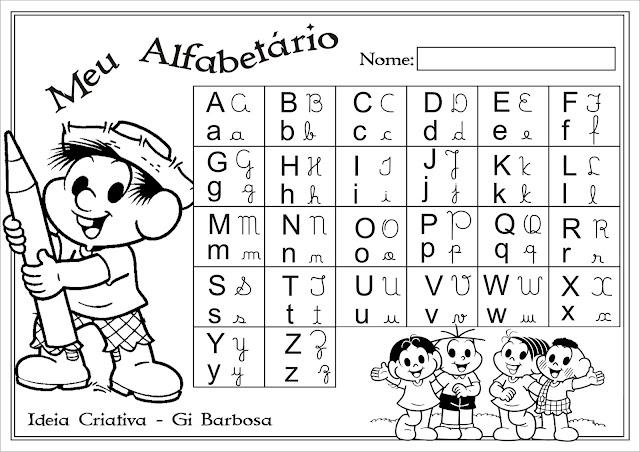 Alfabetário Turma da Mônica Colorir