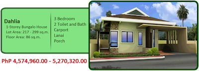 Dahlia 1-Storey Bungalow Single Detached 5M 3BR 2TB w/ carport, lanai and porch house and lot for sale liloan cebu