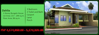 Dahlia 1-Storey Bungalow Single Detached 5M 3BR 2TB w/ carport, lanai and porch house and lot for sale liloan cebu