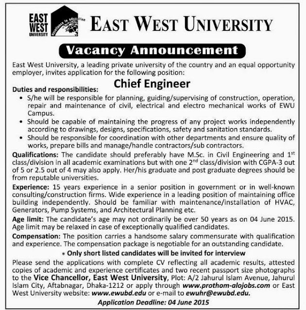 Post: Chief Engineer, Organization: East West University
