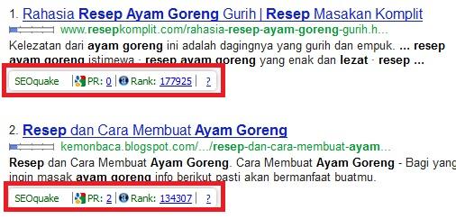 Tampilan SEO QUAKE pada hasil pencarian Google
