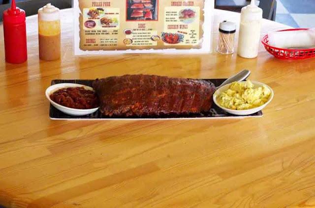 BBQ ribs, potato salad, beans