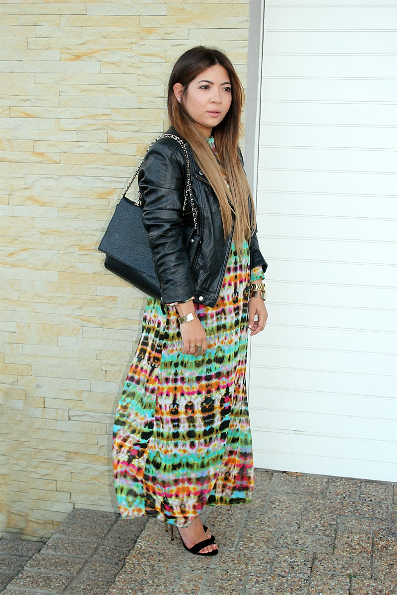 tie dye maxi dress, maxi dress and leather jacket, maxi dress ootd, cape town fashion blogger, maxi dress ootd, leather jacket ootd