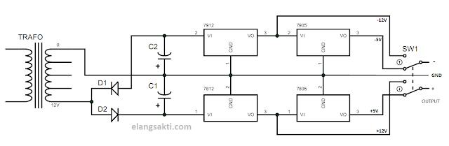 Gambar rangkaian power supply simetris 12volt dan 15volt