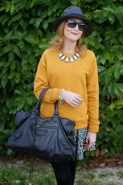 outfits, mustard sweatshirt, ecua-andino panama hat, black panama hat, fashion and cookies, fashion blogger