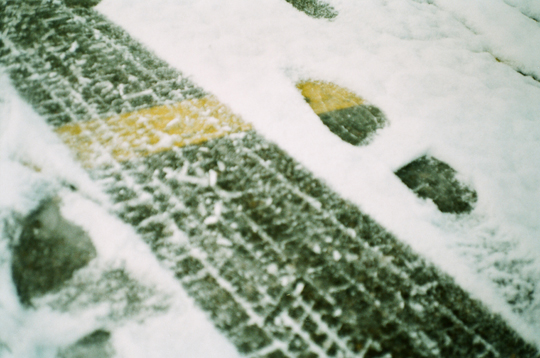 Ansco 1090 AFS footsteps on snow