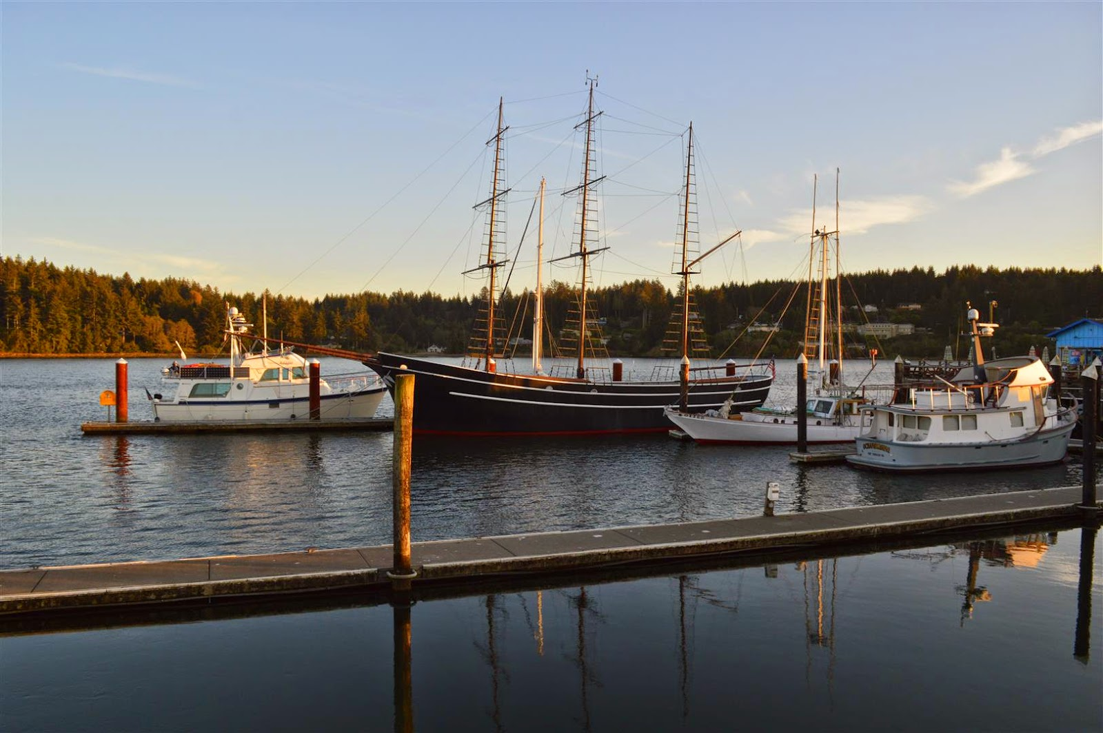 Adagio Tied Up At The Transient Moorage Dock, Florence Or
