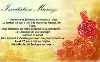 Invitation mariage soirée