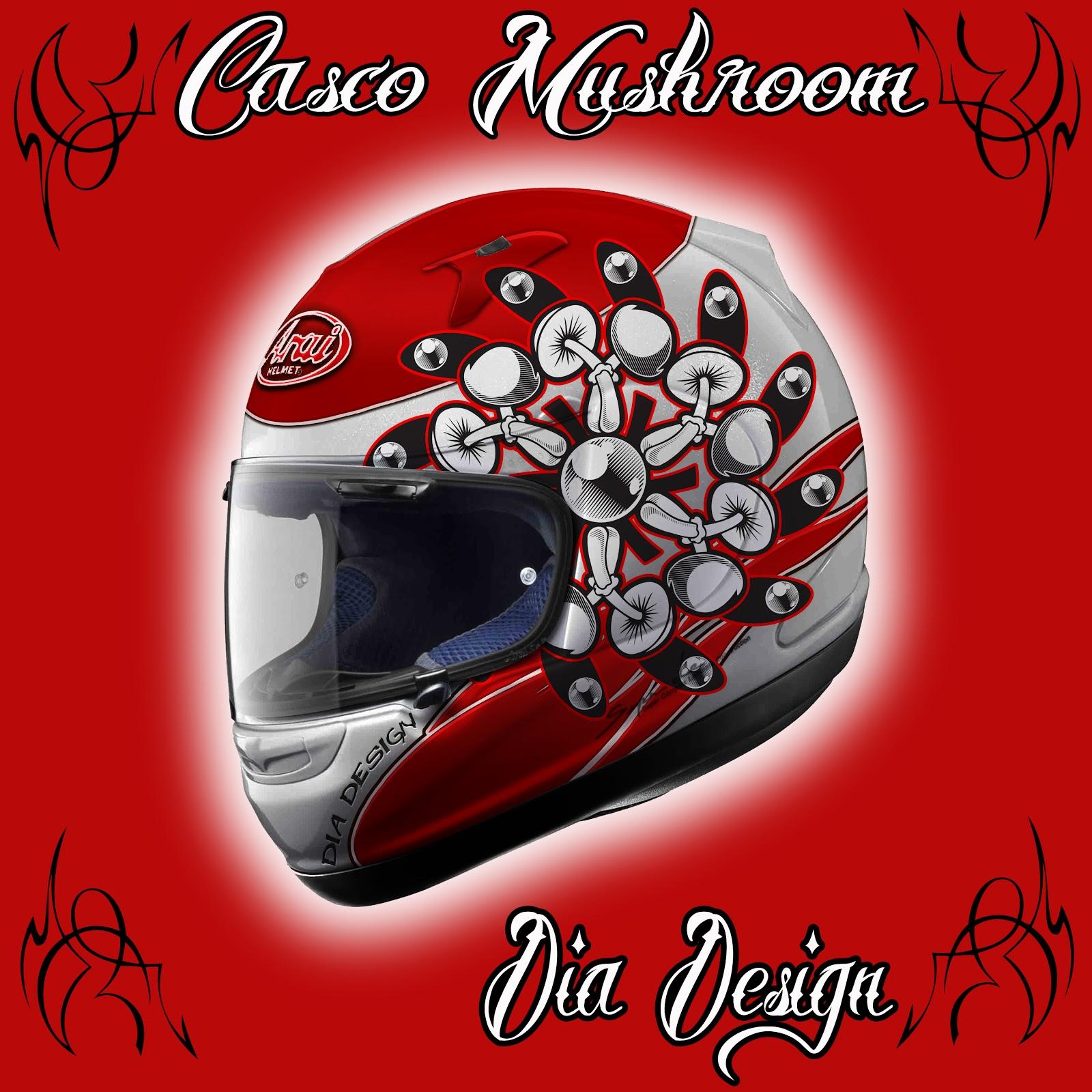 Aerografia casco mushroom