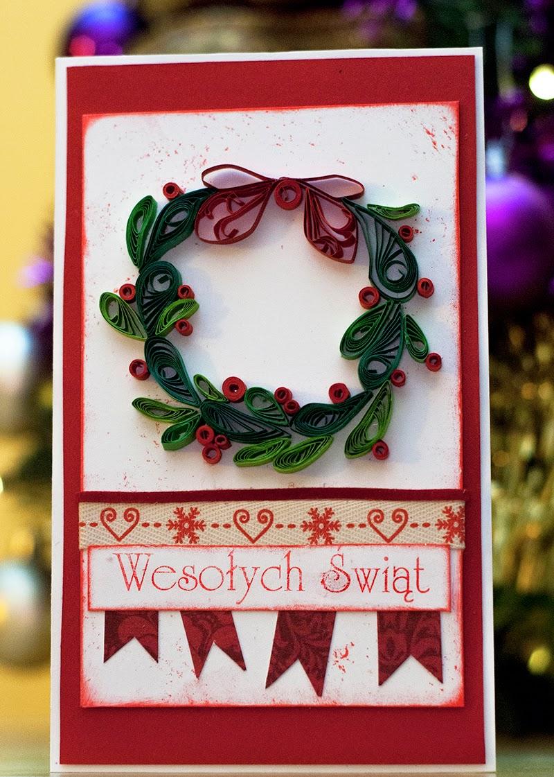 Pierwsze wyzwanie, pierwszy quilling, pierwsza kartka świąteczna