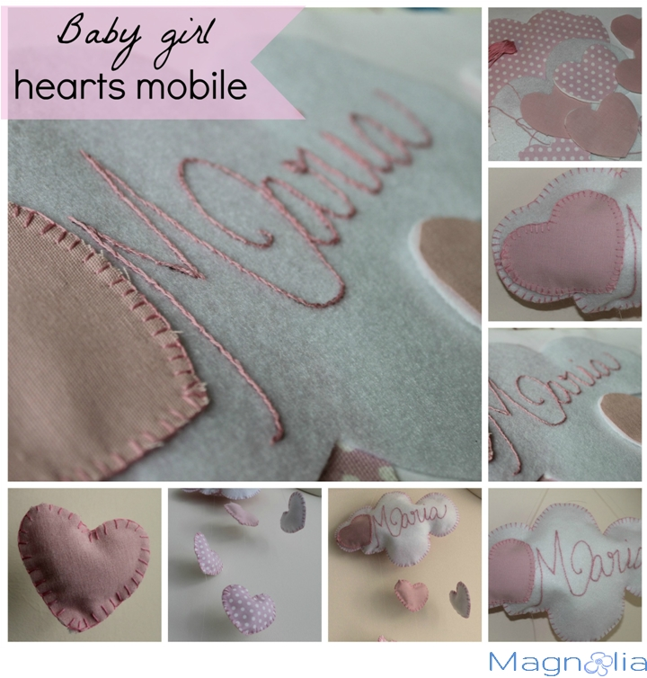 hearts, pink, sewing, baby girl mobile, felt, fabric