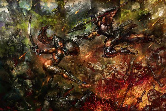 Halil Ural mrdream deviantart ilustrações fantasia arte conceitual Batalha