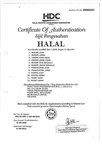Sijil Pengesahan Halal Ramly Food