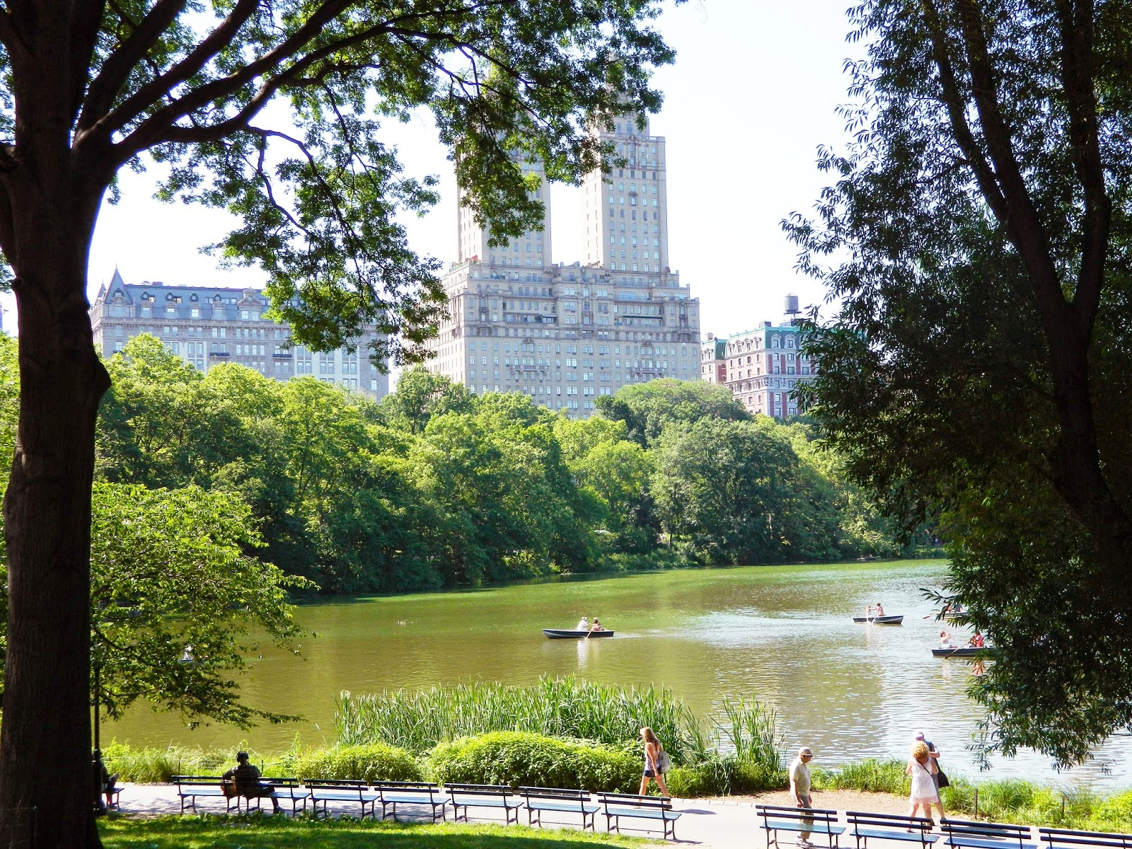 new york city central park architecture  boats trees nature people