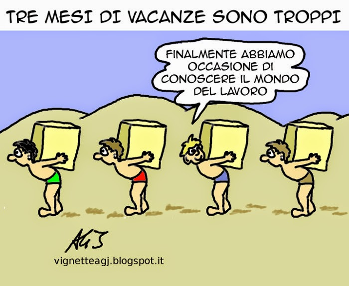 lavoro, scuola, vacanza, Poletti, umorismo, satira, vignetta