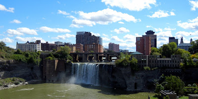 View of downtown Rochester, New York and the High Falls on Genesee River