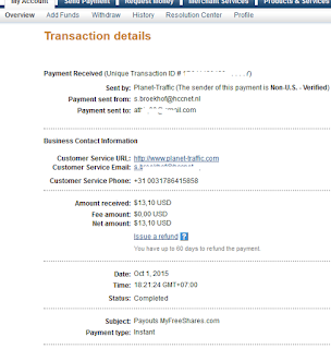 Payment proof from Myfreeshares