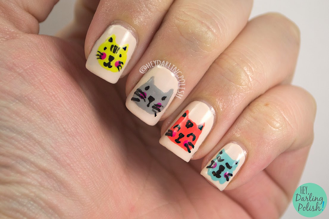 nails, nail art, nail polish, polish, cats, theme buffet, free hand, cat, kitten, hey darling polish