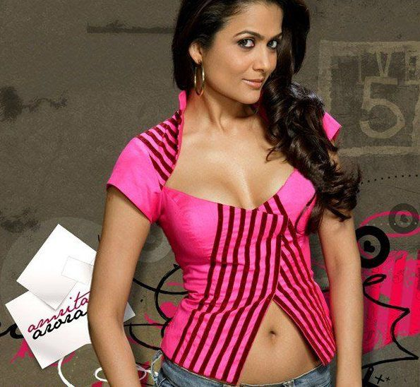 Amrita Arora Hot Pink Dress - Amrita Arora Hot Stills