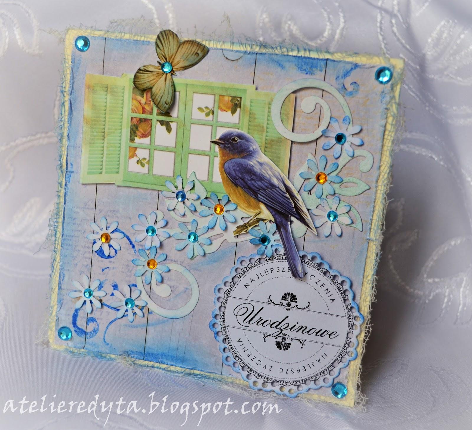 Ręcznie robiona kartka z ptaszkiem