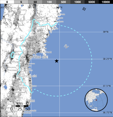 Epicentro sismo 6,0 grados en Japón, 04 de Agosto 2013