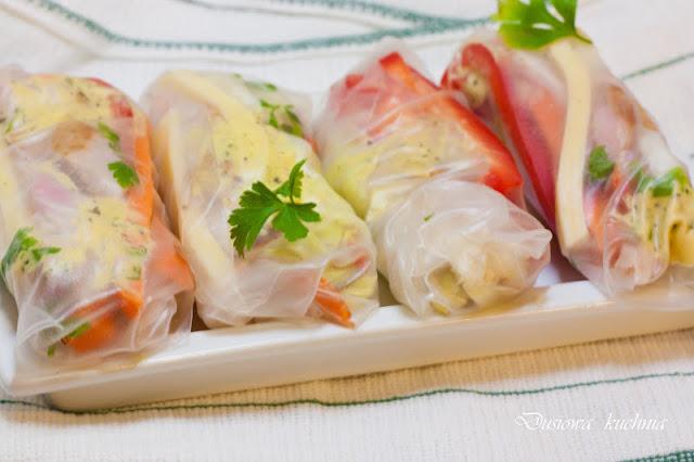 spring rolls, przepis na spring rolls, spring rolls z wędzonym kurczakiem, przekąska z warzyw i wędzonego kurczaka