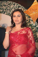 Rani Mukharji in Red transparent saree