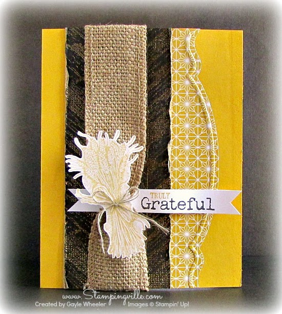 Stampin' Up! Truly Grateful stamp set with gold embossing and burlap by Stampingville