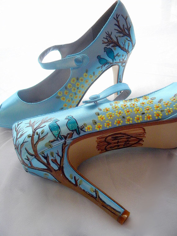 070bc2038ebd Twitter Blue Hand Painted Wedding Shoes by Norakaren
