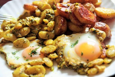 Turmeric Butter Beans with Dill, Garlic and Eggs
