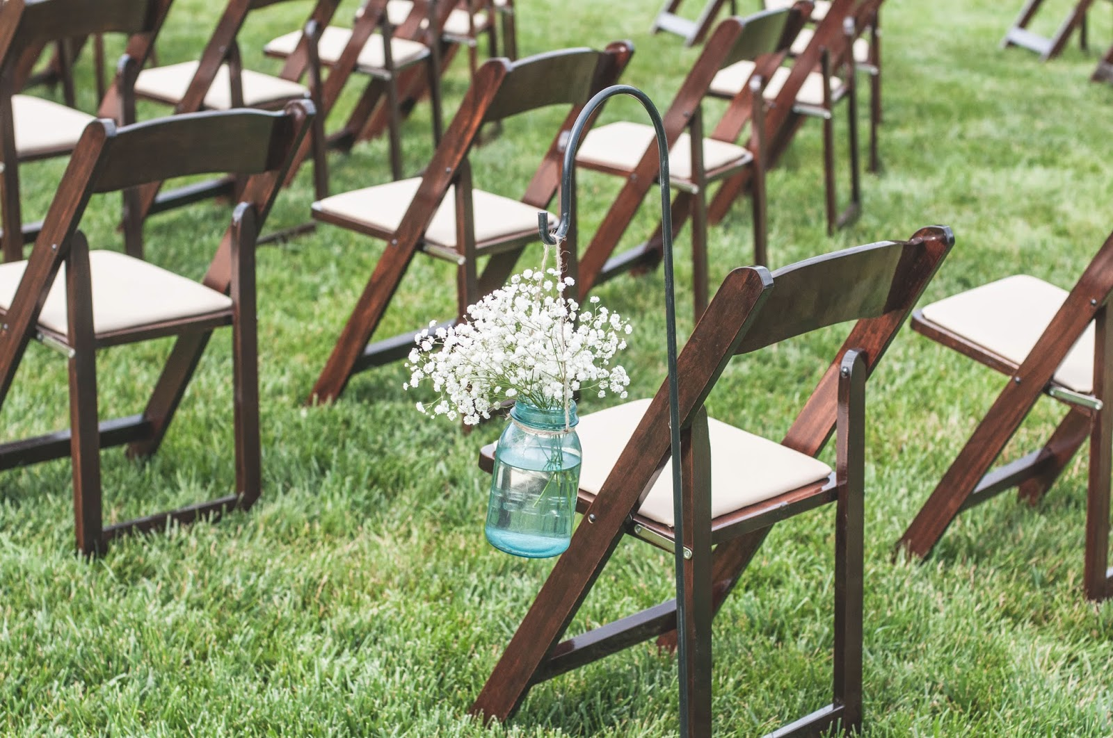Baby's Breath on shepherd hook for wedding ceremony