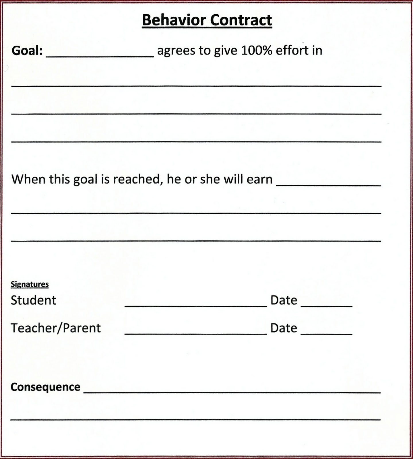 Priceless image in behavior contract printable