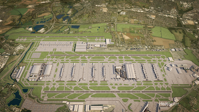 Aerial view of proposed new North-West runway at LHR