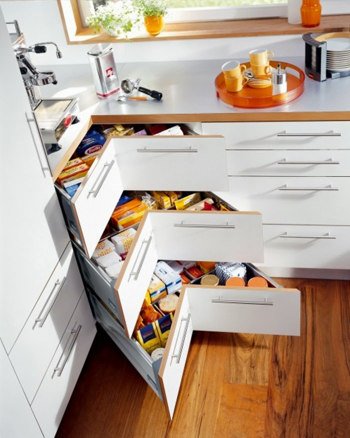 corner drawer, smart kitchen storage ideas, kitchen solutions