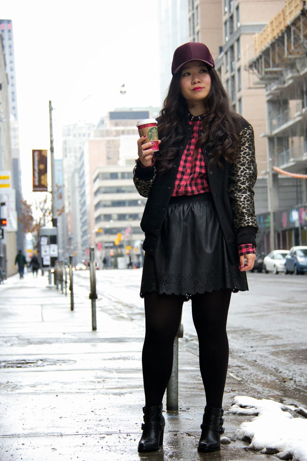 Baseball-cap, Checkered-Shirt, Aritzia-Varsity-Jacket, Forever21-Skirt