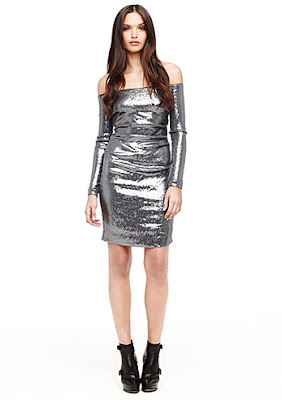 LONG SLEEVE OFF THE SHOULDER MATTE SEQUIN DRESS.