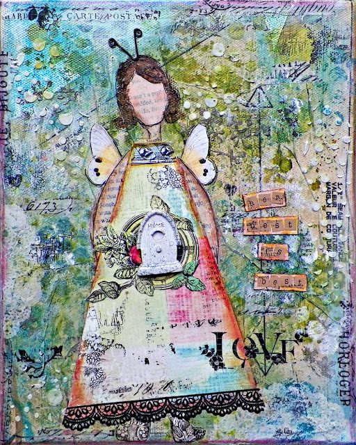 "Her Nest Is Best Canvas by Lisa Novogrodski for Scraps of Elegance using the August kit ""Mallikas Whimsy"""