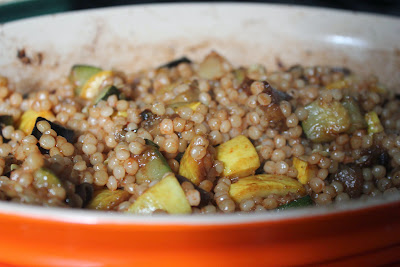 Israeli couscous with roasted squash and eggplant