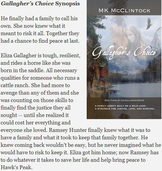 Gallagher's Choice by MK McClintock is the third book in the Montana Gallagher Series
